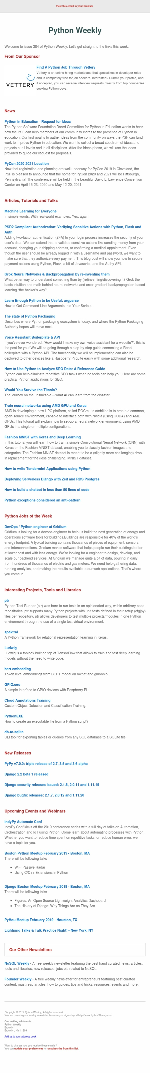 Python Weekly - Issue 384