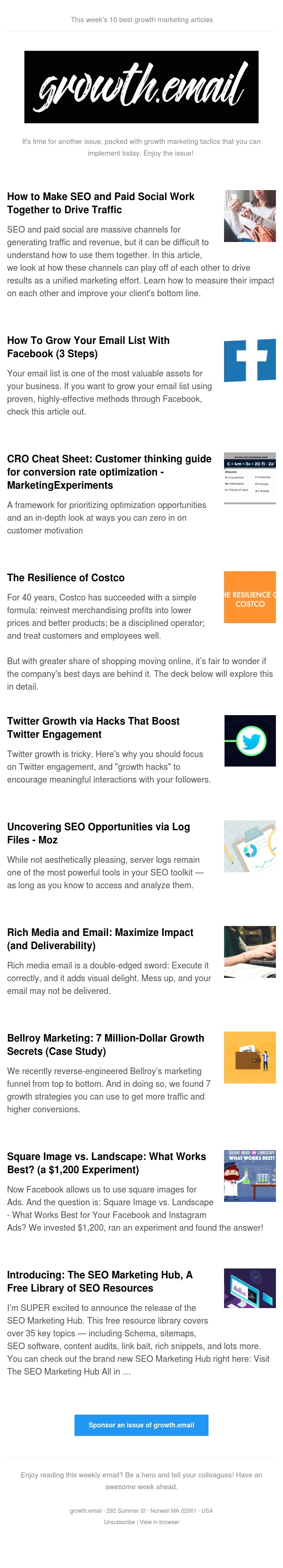 growth.email #88 Grow Your Email List With Facebook | CRO Cheat Sheet | Twitter Growth Hacks | 7 Million-Dollar Growth Secrets