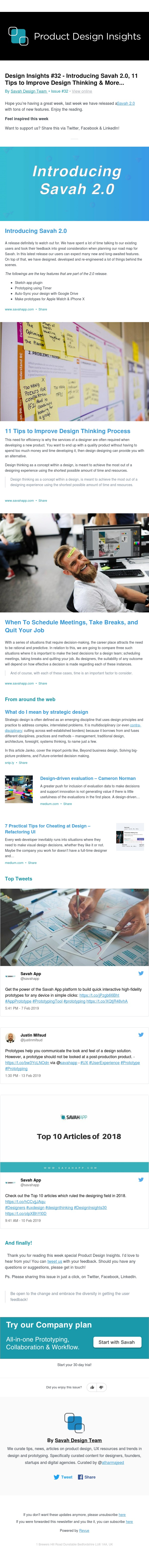 Design Insights #32 - Introducing Savah 2.0, 11 Tips to Improve Design Thinking & More...