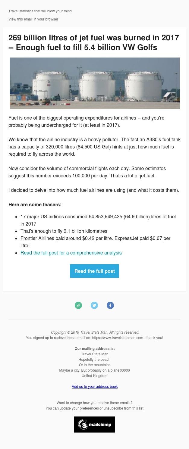 🛫 269 billion litres of jet fuel was burned in 2017