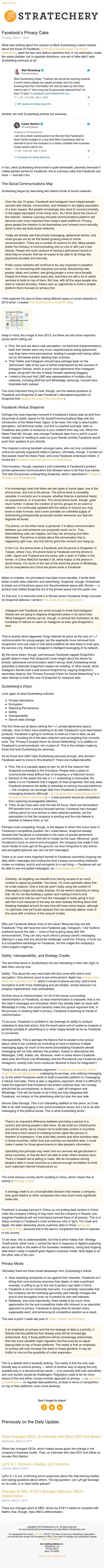 Facebook's Privacy Cake (Stratechery Weekly Article 3-7-2019)