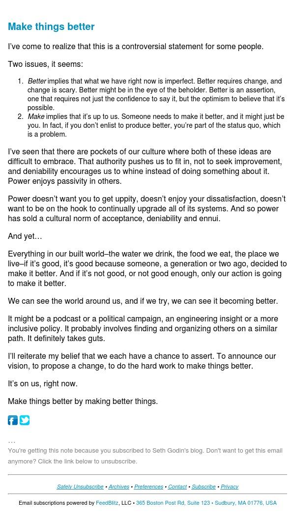 Seth's Blog : Make things better