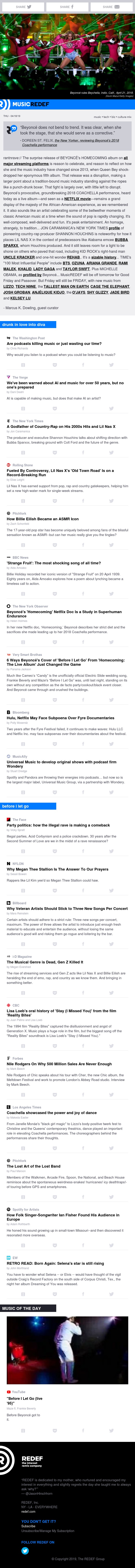 jason hirschhorn's @MusicREDEF: 04/18/2019 - Surprise: It's Beyoncé, Are Podcasts Killing Music?, Country-Rap Godfather, Billie Eilish, 'Strange Fruit'...