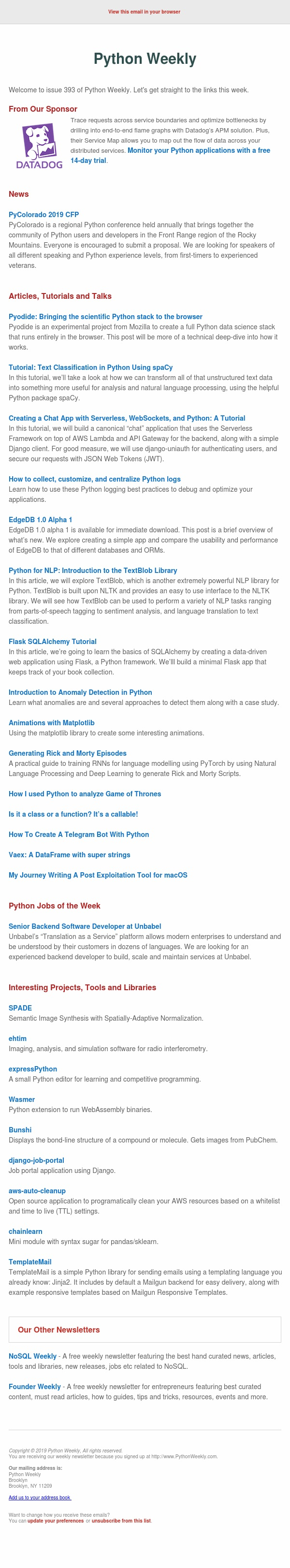 Python Weekly - Issue 393