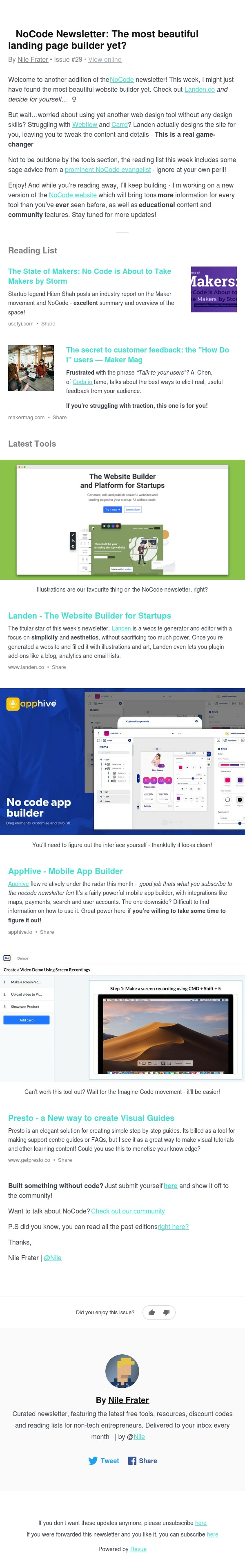 💎 NoCode Newsletter: The most beautiful landing page builder yet?