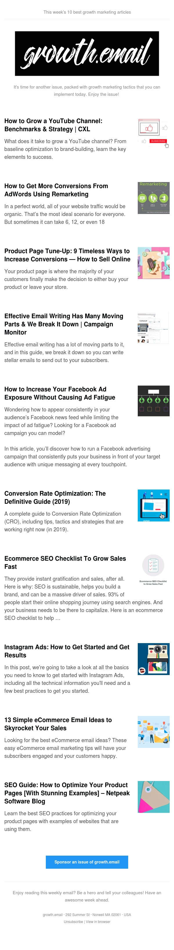 growth.email #93 YouTube Benchmarks & Strategy   Get More Conversions Using Remarketing   Product Page Tune-Up   Ecommerce SEO Checklist   Ecommerce Email Ideas To Skyrocket Your Sales
