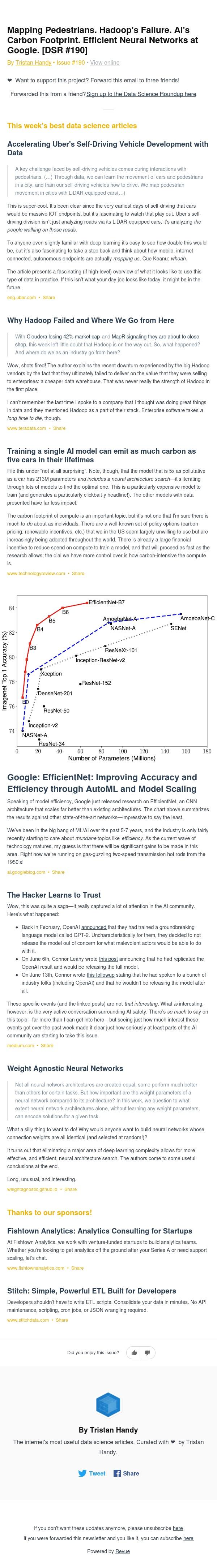 Mapping Pedestrians. Hadoop's Failure. AI's Carbon Footprint. Efficient Neural Networks at Google. [DSR #190]