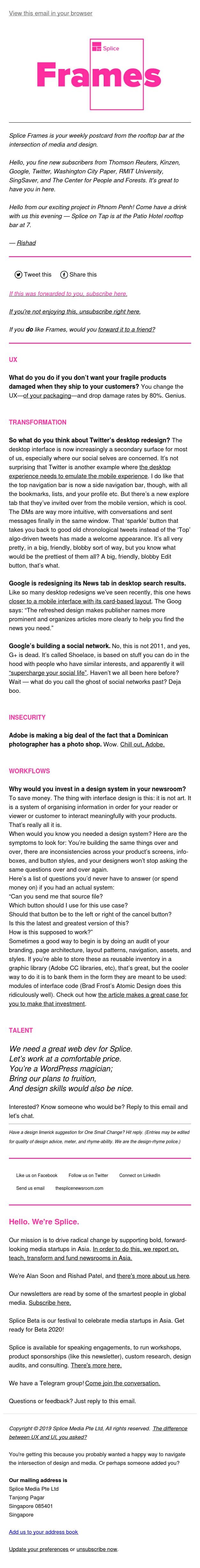 Splice Frames: media by design