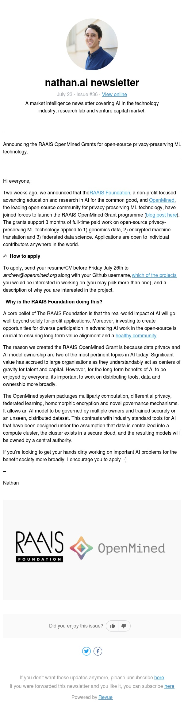 🤓 RAAIS OpenMined Grants for privacy-preserving ML tools