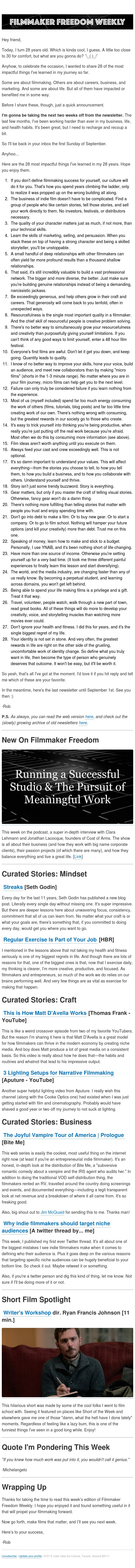 [Newsletter] 28 lessons in filmmaking, business, and life