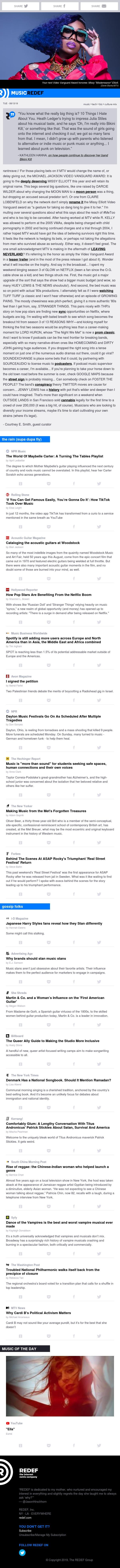 jason hirschhorn's @MusicREDEF: 08/13/2019 - Missy Elliott on the Vanguard, Maybelle Carter, Tik Tok, Acoustic Woodstock, Netflix's Gift to Music...