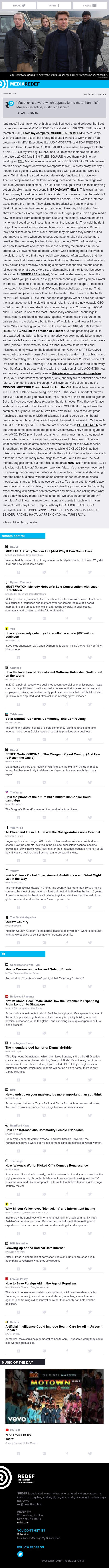 jason hirschhorn's @MediaREDEF: 08/15/2019 - Can Viacom Come Back?, Mellody Hobson is Epic, Toys for Adults, Spreadsheets, Cloud Gaming, Cheat and Lie in LA...
