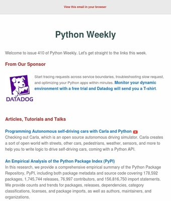 Python Weekly   Discover by Revue