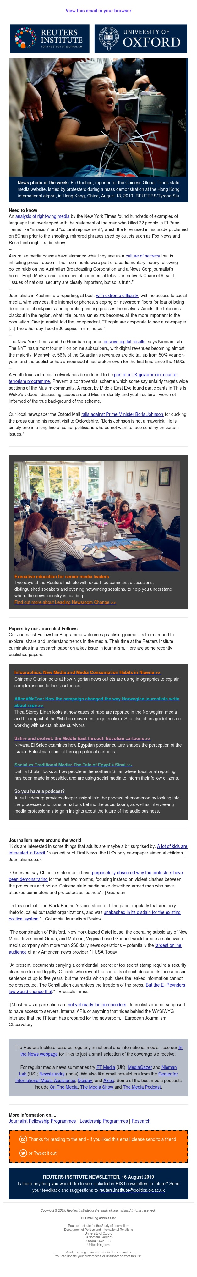 Media Freedom in Australia, Kashmir, Belgium | Papers by Journalist Fellows | Mergers and financial success + more...