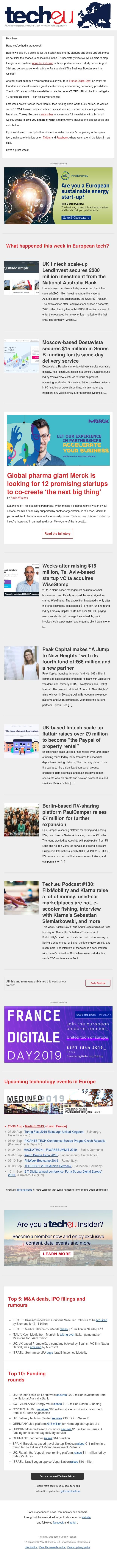 Tech.eu Newsletter #298: LendInvest raises £200 million; Siemens pays $1.1 billion for Corindus; Deliveroo leaves Germany; vCita acquires WiseStamp