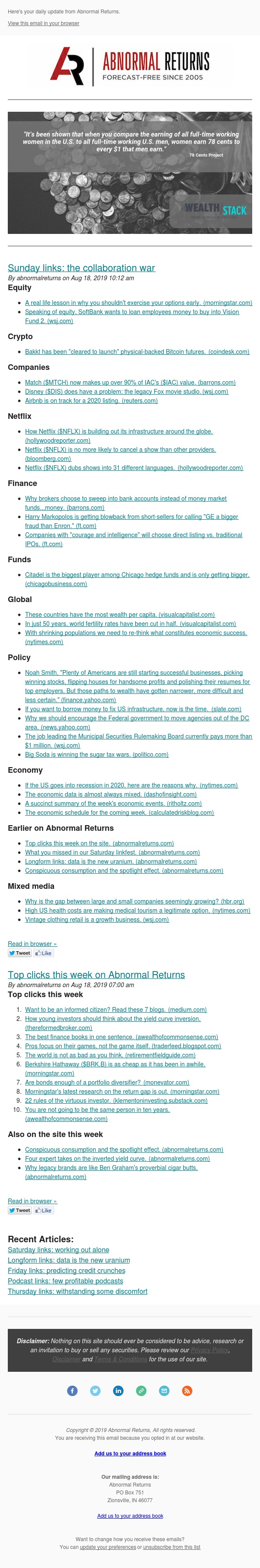 📈📉Posts from Abnormal Returns for 08/18/2019