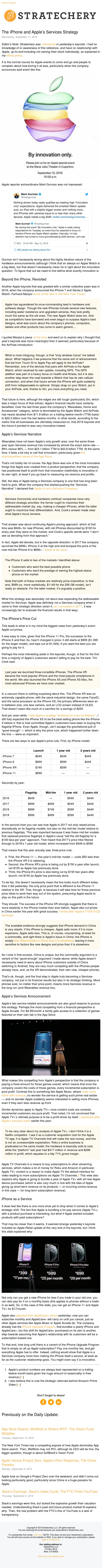 The iPhone and Apple's Services Strategy (Stratechery Weekly Article 9-11-2019)