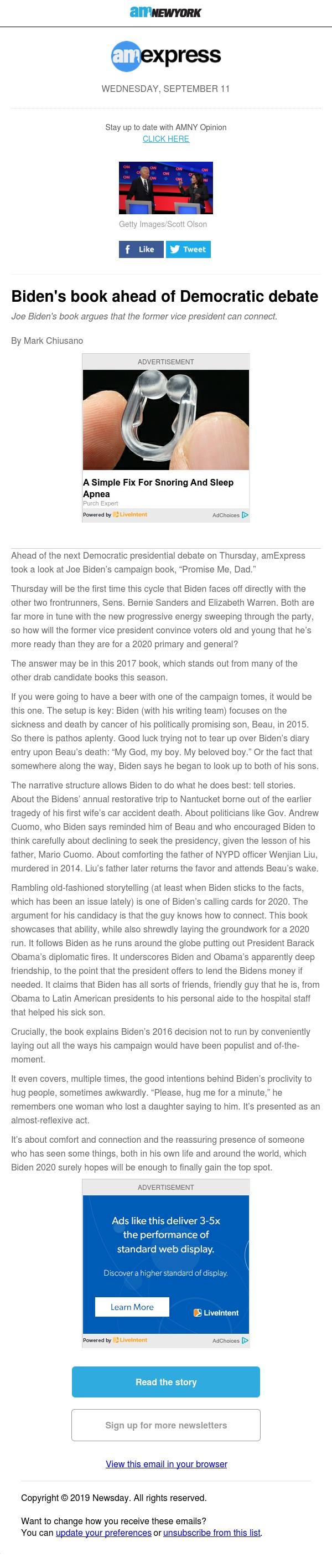 Biden's book ahead of Democratic debate