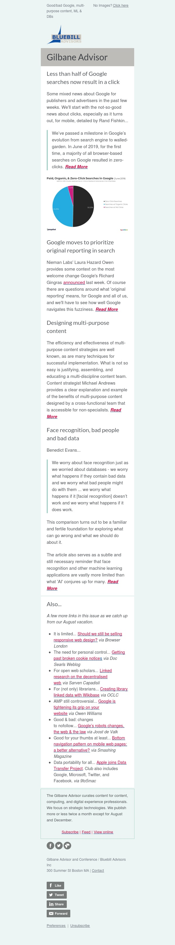 Gilbane Advisor 9-18-19 — Good/bad Google, multi-purpose content, face recognition & DBs