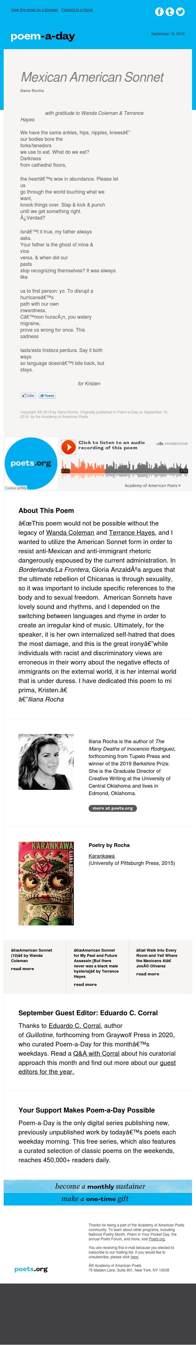 """""""Mexican American Sonnet"""" by Iliana Rocha"""