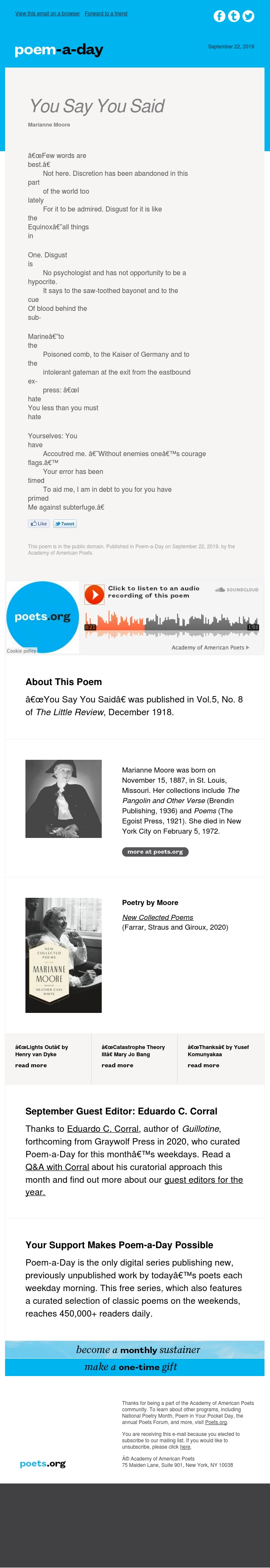 """You Say You Said"" by Marianne Moore"