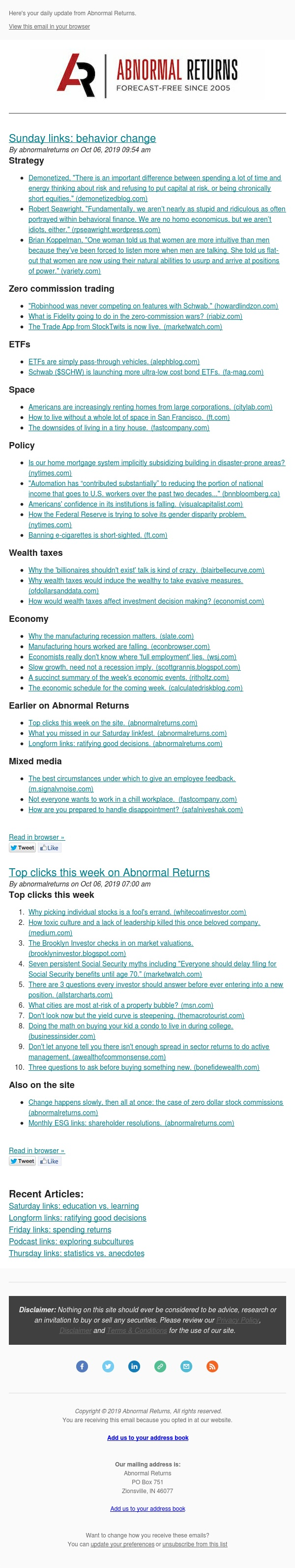 📈📉 Posts from Abnormal Returns for 10/06/2019