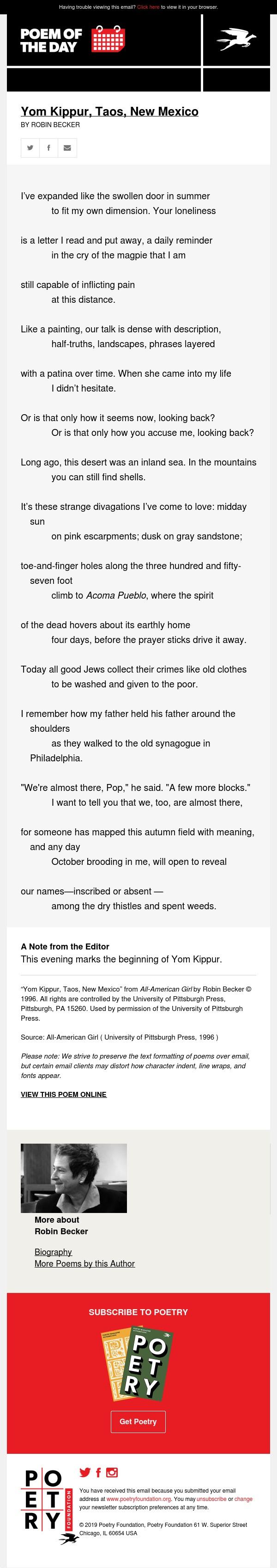 Poem of the Day: Yom Kippur, Taos, New Mexico