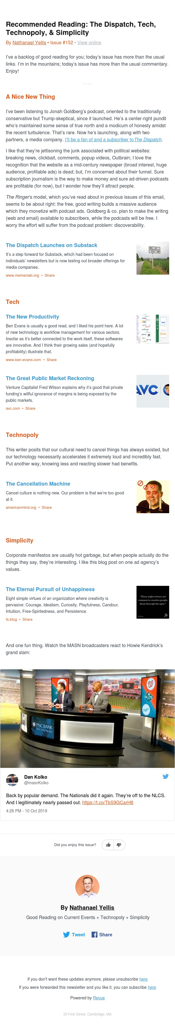 Recommended Reading: The Dispatch, Tech, Technopoly, & Simplicity