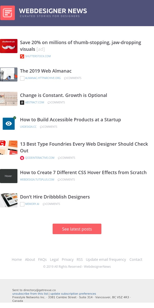 ✏ The 2019 Web Almanac, Building Accessible Products, 13 Best Type Foundries, and more…