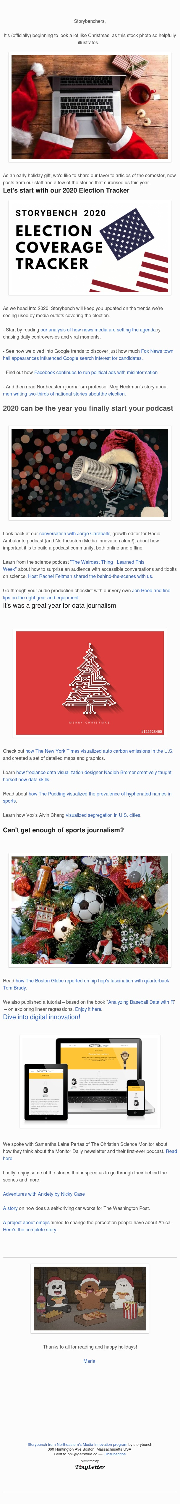 A stocking-full of articles on data journalism, media innovation and covering 2020