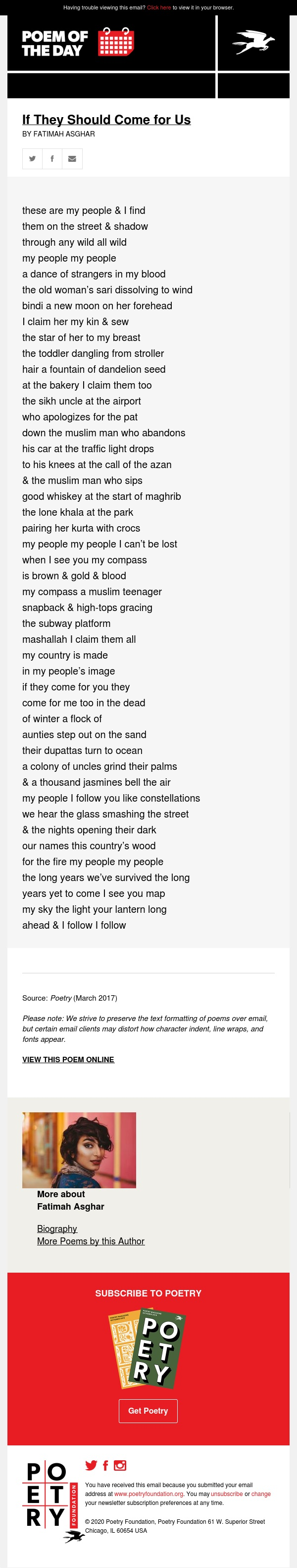 Poem of the Day: If They Should Come for Us
