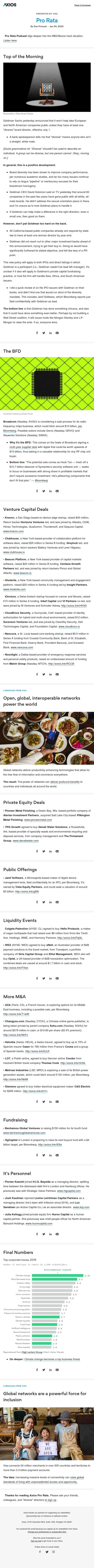 "Axios Pro Rata: Goldman's IPO ""diversity"" pledge — Broadcom's next sale — Cimate tops corporate issues"