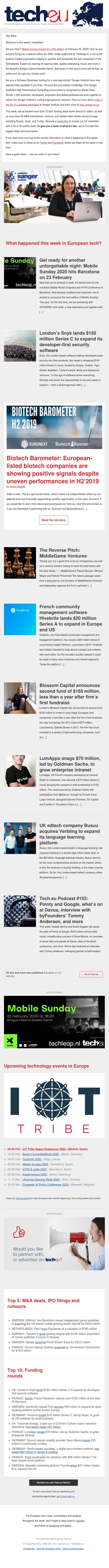 Tech.eu Newsletter #321: Snyk raises $150 million, France changes stock option rules, Blossom Capital announces $185 million fund, and more