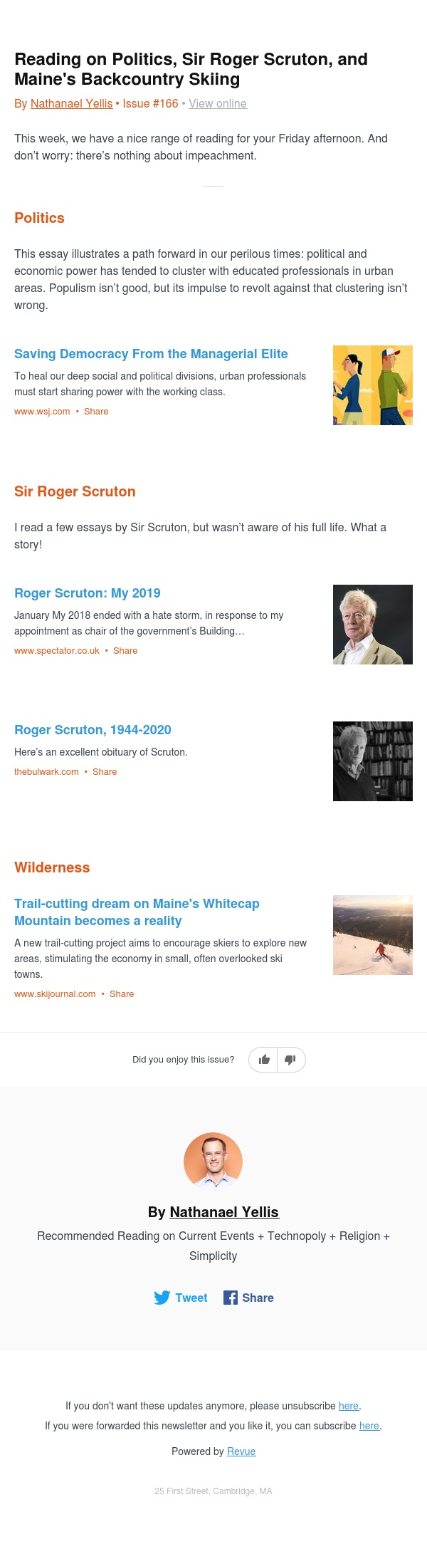 Reading on Politics, Sir Roger Scruton, and Maine's Backcountry Skiing