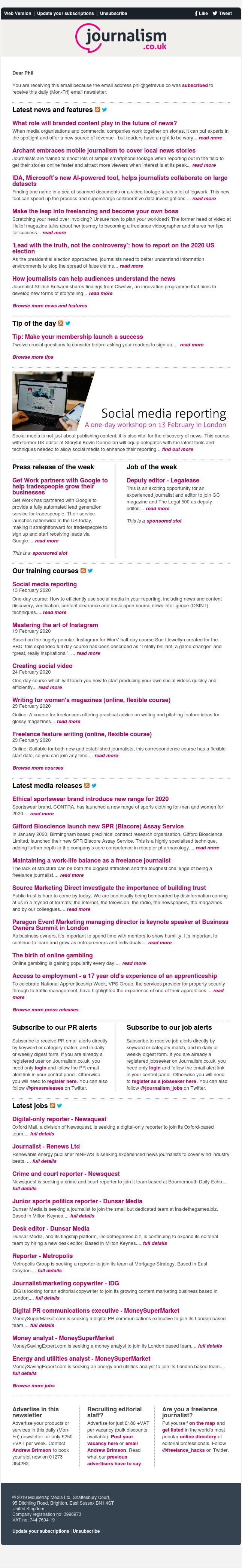 Journalism news: What role will branded content play in the future of news? | 74 jobs