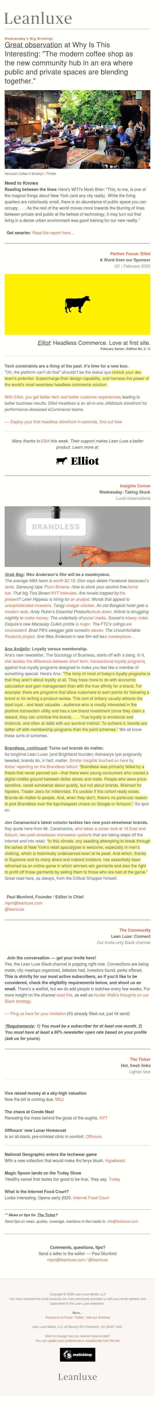 The Debrief No. 382: The modern coffee shop as the new public-private community hub — Brandless, cont'd: Turns out brands do still matter.