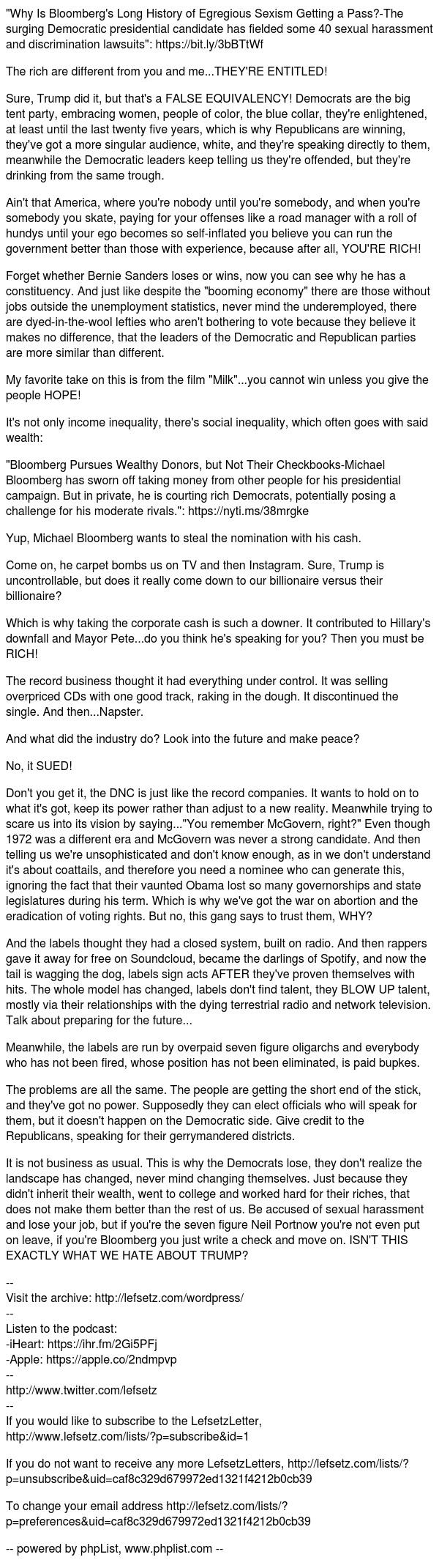 Bloomberg's Past