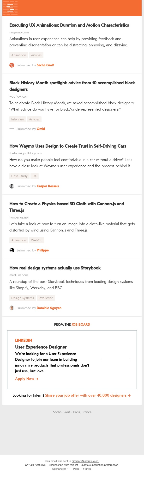 UX Animations, Black Designers, Self-Driving Cars, Cloth Physics, Storybook