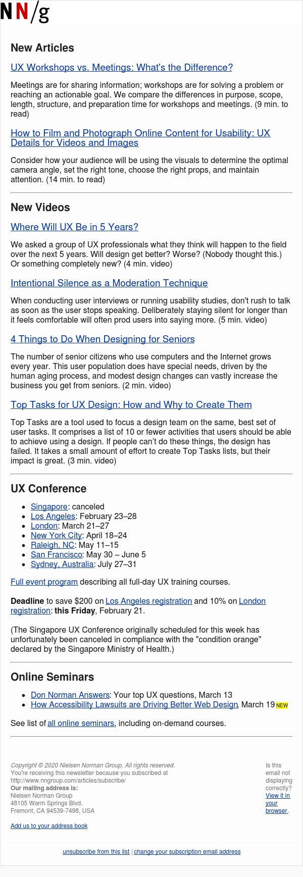 UX Workshops vs. Meetings | Film and Photograph Online Content | UX in 5 Years | Intentional Silence | Design for Seniors | Top Tasks