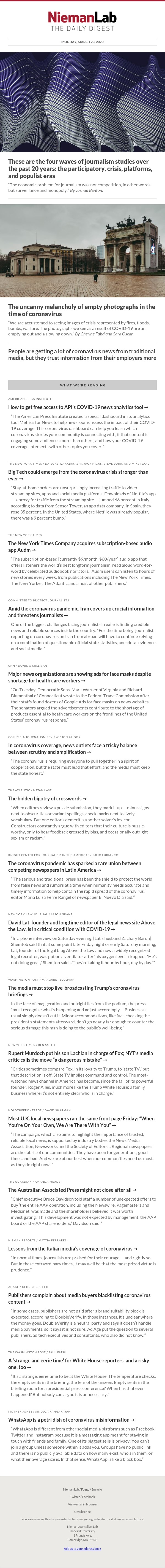 These are the four waves of journalism studies over the past 20 years: the participatory, crisis, platforms, and populist eras