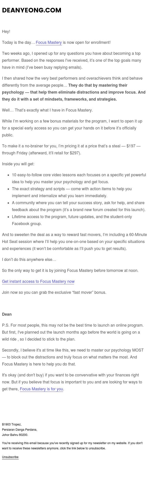 Now available: Focus Mastery (details + bonus inside)