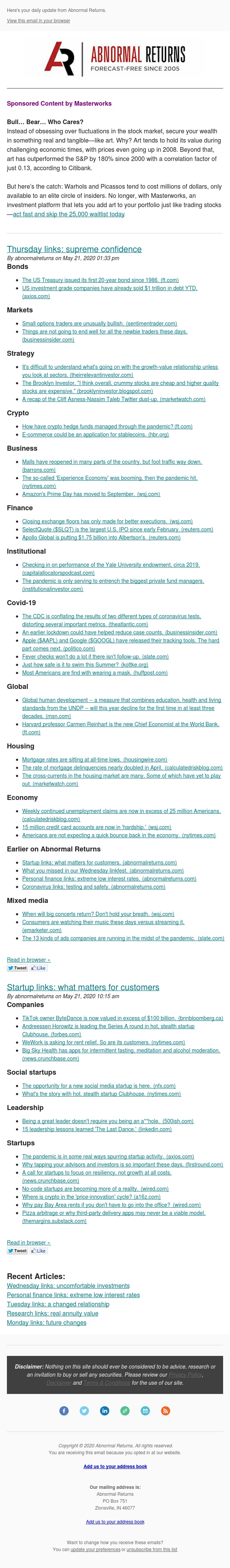 📈📉Posts from Abnormal Returns for 05/21/2020