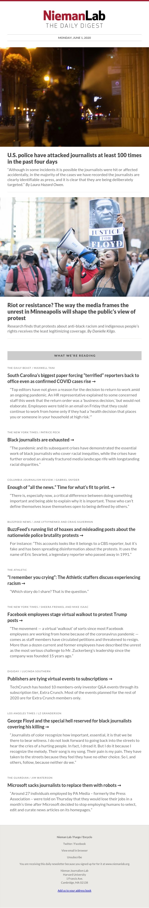 U.S. police have attacked journalists at least 100 times in the past four days