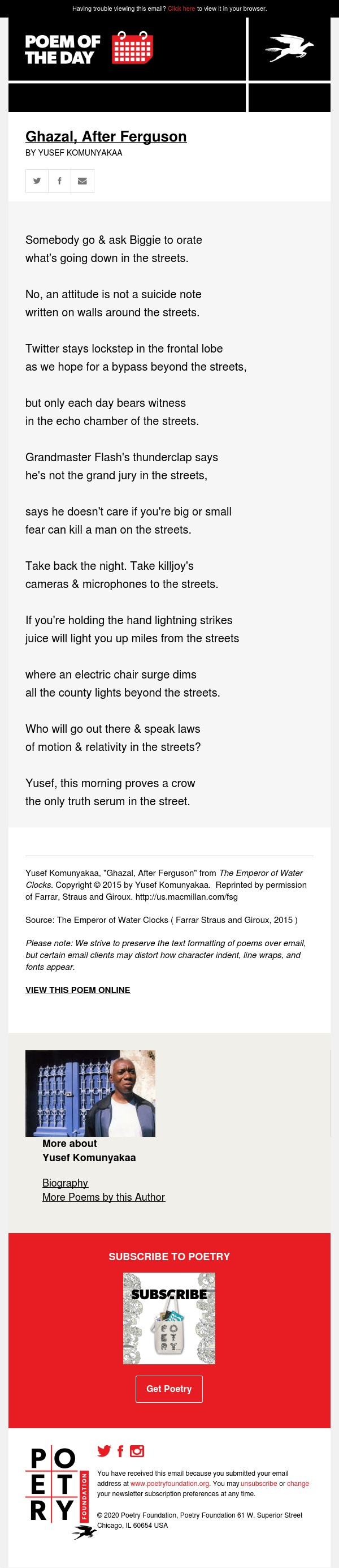 Poem of the Day: Ghazal, After Ferguson