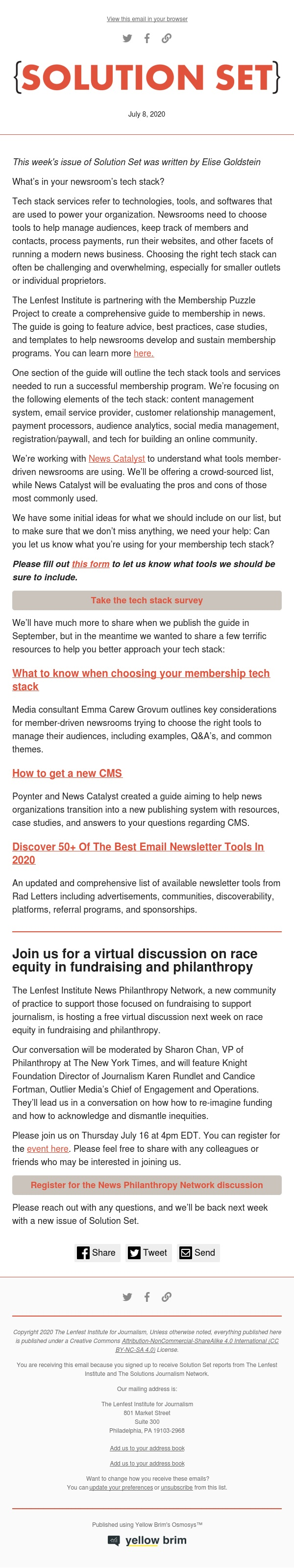 Solution Set: What tools does your newsroom use?