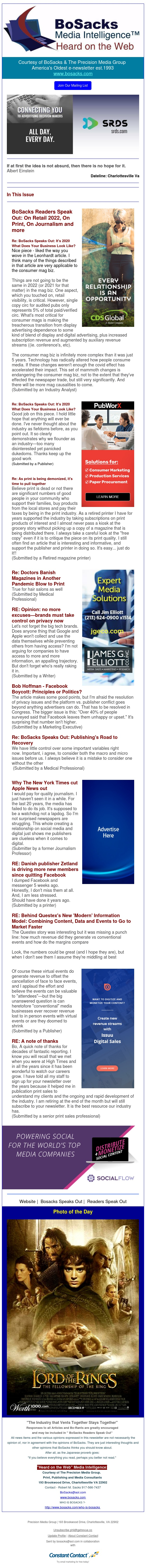BoSacks Readers Speak out: On Retail 2022, On Print, On Journalism and more