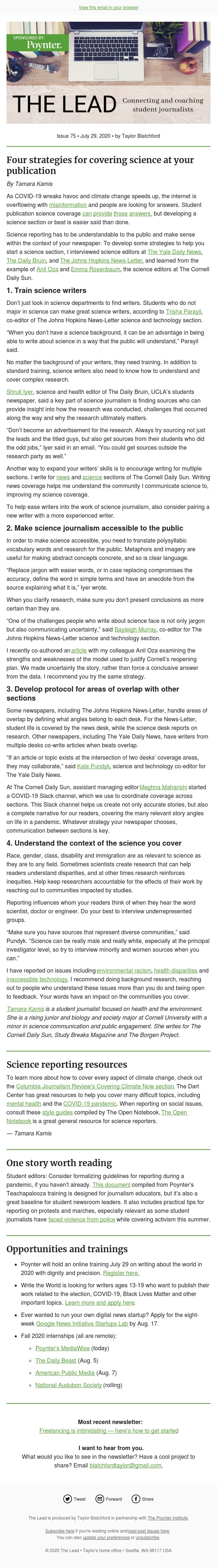 Four strategies for covering science at your publication