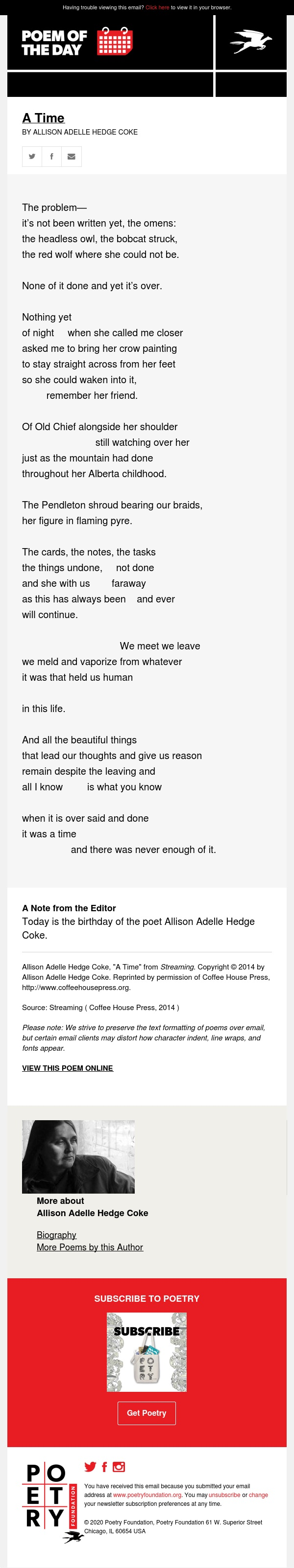 Poem of the Day: A Time