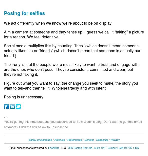 Seth's Blog : Posing for selfies
