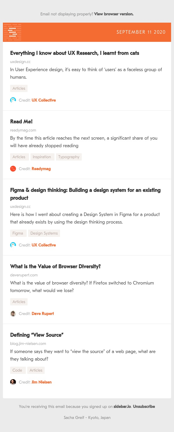 UX Cats, Read Me, Figma System, Browser Diversity, View Source